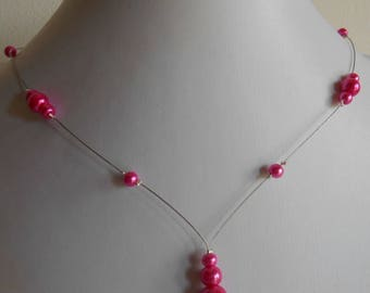 Wedding necklace cascade fuchsia beads