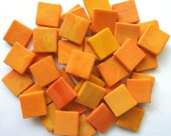 "15mm (3/5"") Variegated Melon Orange Opaque Glass Mosaic Tiles// Mosaic// Mosaic Supplies"
