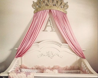 Princess Baby crib bed canopy crown, wall art, wakeup sweet pea bed crown, above the bed, princes canopy, large valance rounded, shabby chic