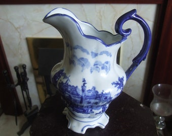 Antique Medium Size Blue and White Transfer Printed Jug