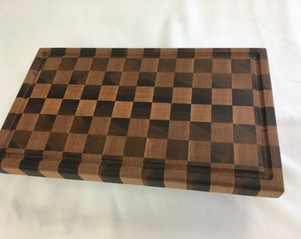 "Walnut and Oak checkered cutting board 11 1/2"" x 19 1/2"" x 1 1/2"""