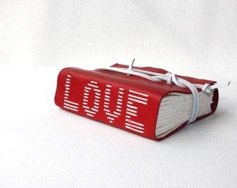 Wedding Guest Book - Leather Blank Book Scrapbook Photo Album - Unique Handmade by Wee Bindery - Love