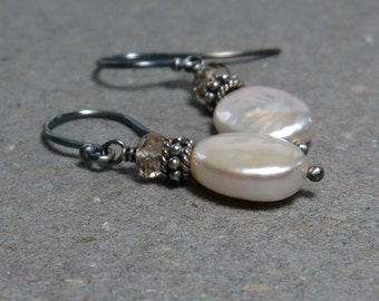 White Pearl Earrings June Birthstone Coin Pearls Champagne Quartz Oxidized Sterling Silver Earrings