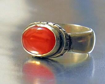 Orange Carnelian Ring, 925 Silver Stone Ring,Carnelian Silver Ring, Semi Precious Ring, Bohemian Ring,Designer Ring Silver, Handmade Ring