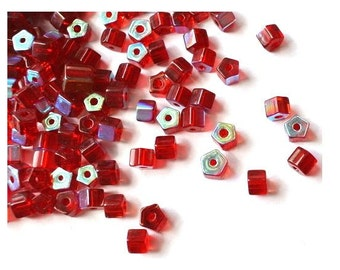 50 Vintage glass beads unique red, tube, faceted, 5mmx4mm