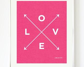 Love X Type Print - Hot Pink - Linen - Nautical - Girls Nursery - Beach - Pink - Valentine - Arrows