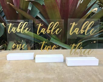 Embossed Acrylic Table Numbers | Table Numbers | Wedding table numbers | wedding sign | wedding signage | Acrylic Sign | Perspex Sign |