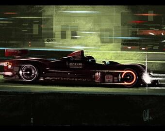 Automotive Art  Oreca Lemans Sebring Race 12x18 Metallic Print