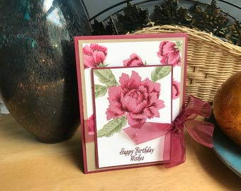 Birthday Card, Floral Birthday Card, Peony Birthday Card