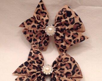 Pinwheel Hairbows/Baby Hairbows/Hairbows/Cheetah Hairbows