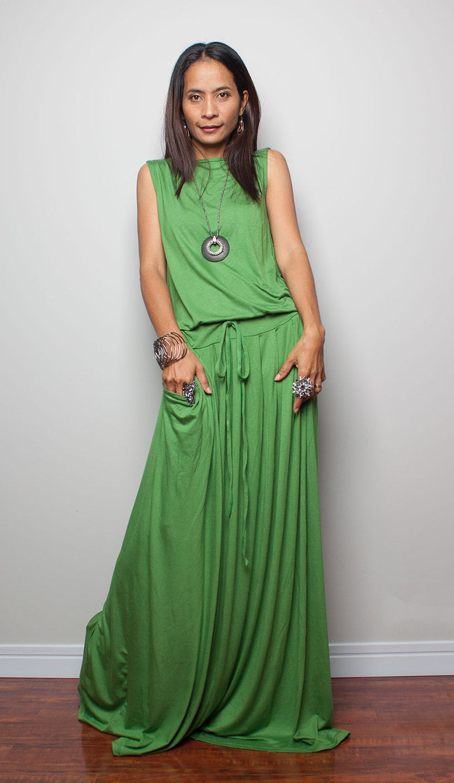 Maxi Dress, sleeveless green dress, long green dress, summer dress with pockets, women's dress, floor length resort holiday dress (AUT9S)