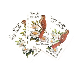 4 x Georgia USA 20c Brown Thrasher & Cherokee Rose - State Birds UNused 1982 Vintage postage stamps - invites, card making, mail art
