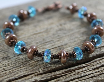 Blue Crystal, Champagne, Bronze, and Copper Bracelet / Sparkly Bracelet / Gifts for Her / Gifts for Women / Blue Bracelet / Classy / Elegant