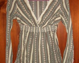 Vintage Refuge V Neck Long Sleeve Cross Front Blouse-Small