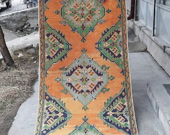 Turkish Oushak Rug, Vintage Rug, Oushak Rug,Knotted Rug,Hand Made Rug, Wool Rug,Runner Rug,Turkish Rug,Area Rug,3'2×11'1 feet-97×340 cm