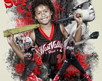 Baseball or ANY Sport Collage Design for team youth athlete