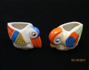 Vintage Figural Parrot and Pellican Cachepots, Made in Japan