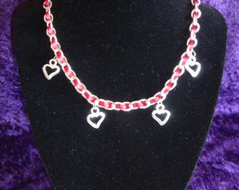 Red Ribbon Chain Necklace with Heart Pendants