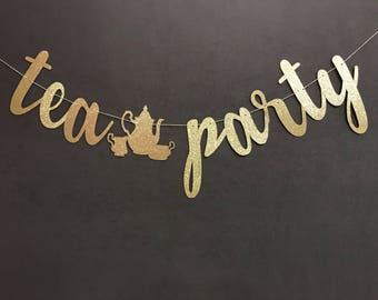 Tea party banner,tea party decorations, tea party garland, second birthday banner