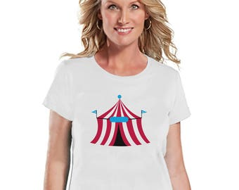 Circus Tshirt - Ladies Carnival Shirt - Circus Tent Shirt - White T-shirt - Womens Shirt - Carnival Birthday Party Outfit - Carnival Party