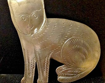 VTG Sterling Pin - Native American - Silver Cat Pin - Pawn from 70's - Cat Lovers Gift - Artistic Vintage Pin