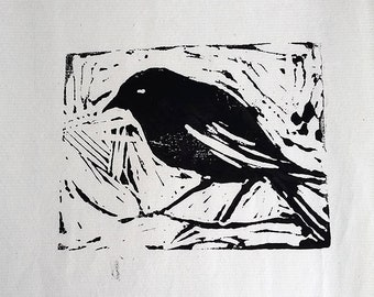 "Original Lino cut Print of a Crow Black and White Art Original Print on Rice Paper 5x5"""