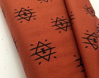Ojos Flame Fabric by the yard, April Rhodes Arizona After collection, Cotton Fabric by the yard, Aztec, Arizona, Southwestern, Burnt Orange