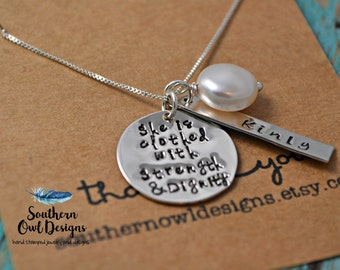 she is clothed in strength and dignity necklace, clothed in strength and dignity, gift for her, hand stamped necklace,