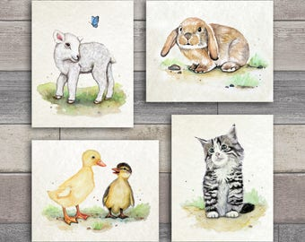 Set of Four Baby Farm Animal Nursery Wall Art prints.   Ducklings, Kitten, Lamb and Bunny