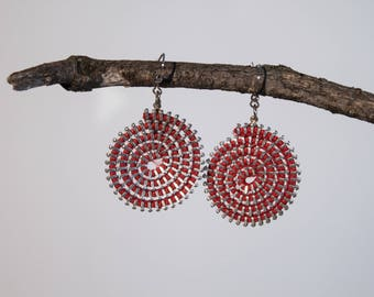 Earrings made with recycled zippers, spiral earrings, various colors & silver