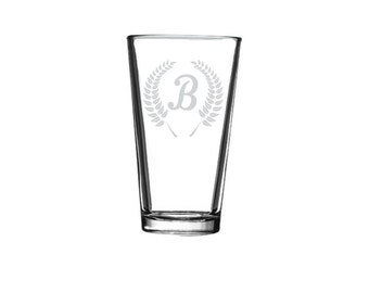 1 MONOGRAMMED Drinking Glass ONE Personalized Beer Glass Engraved Drinking Glass Toasting Glass Cocktail Glass Personalized Gift