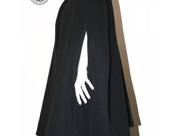 Cape jacket coat in wool blend large size woman fabrics and colors to choose from