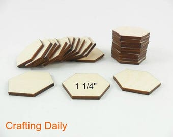 """Wood Hexagons Laser Cut Wood Tiles 1 1/4"""" (31.75mm) Side to Side - 22 Pieces"""