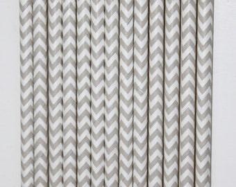 50 Light Grey and White Chevron Paper Straws birthday party wedding cake pop sticks Bonus diy straw flags