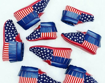 4th of July Moccs, Red White and Blue Moccs, USA Moccs, USA Flag Moccs, Baby Moccs, Baby Moccasins, Baby Shoes.