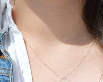 Sterling Silver Dew Drop Necklace, Silver Circle Necklace, Dew Drop Necklace, Minimal Necklace, Dainty Necklace, Bohemian Necklace