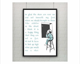 Stars Lullaby Print / Song / Poem / Art Illustration / US Letter and A4 up to A0 size / Wall Art Decor / Retro Poster / Kids Nursery Decor