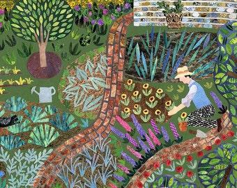 Mönchs Haus Garten, Grußkarte, Karte, Leonard Woolf, Bloomsbury, Naive Kunst, Kunst, Virginia Woolf, Karte für Gärtner, Blumen, Gartenarbeit