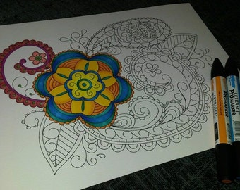 Adult Colouring Page, Paisley Pattern