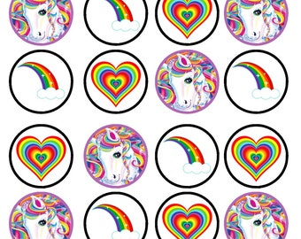 Rainbow's and Unicorns Edible Wafer Rice Paper Cake Cupcake Toppers x 24 PRECUT