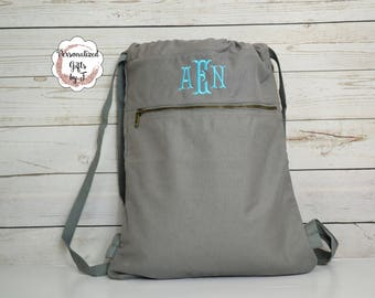 Monogrammed Cinch Saks, Canvas Cinch Sack, Tween Gift, Teen Christmas Gift, Birthday Gift, Comfort Colors Cinch Bag