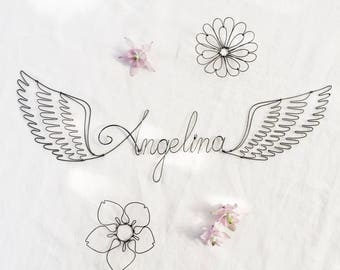 Decorative wall Wings Angels - wire - letters - custom design - name boy - baby room