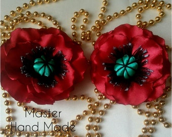 Hairpins. Poppies for hair.  Poppies in Kansas technique.  Beautiful accessories for girls.