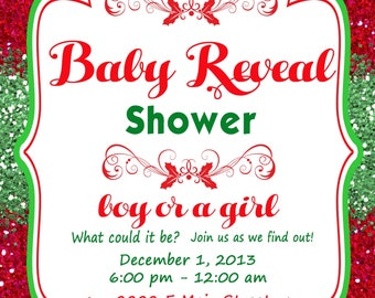 Gender Reveal Baby Shower  Christmas Print at Home Invitations for Gender Reveal