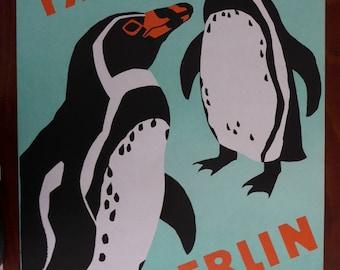Original Vintage Penguin Zoo Poster 1970s - Original Berlin Tierpark Zoo Poster- Rare original East German authentic large bird poster