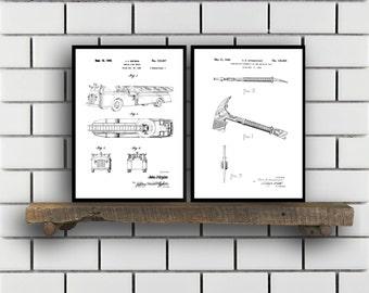 Firefighter Patent Prints, Firefighter Set of TWO, vintage Firefighter Invention Patent, Firefighter Poster, Firefighter Print