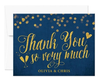 Personalized Printed Thank You Cards - Navy & Gold Thank You Cards - Custom Thank You Cards - Blue and Gold