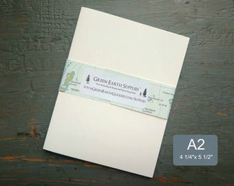 """25 A2 Folded Cards, 100% Recycled Blank Invitations/Note/Thank You Cards, 4 1/4 x 5 1/2"""", 80-100lb, White or Natural White (Cards Only)"""