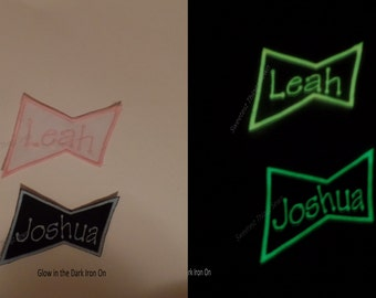 Glow in the dark Iron on, Personalized Iron on, Iron on Name tag, Glow in the Dark, Embroidered Name, Iron on/SewOn Patch