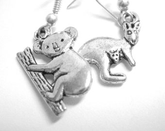 Silver Koala Kangaroo Jewelry - Mismatch Drop Earrings Cute Animal Earrings 111 118